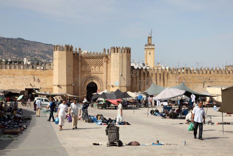 门向麦地那在Fes,摩洛哥 免版税库存图片