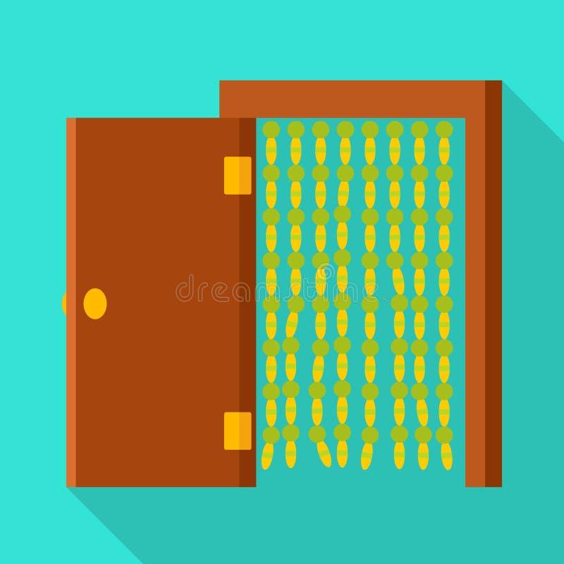 门和开放标志被隔绝的对象  设置门和门道入口股票的传染媒介象 库存例证