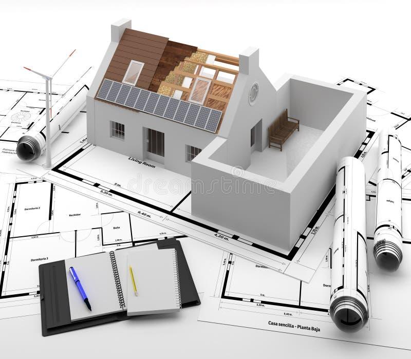 门和窗口对房子 能量隔离 库存例证