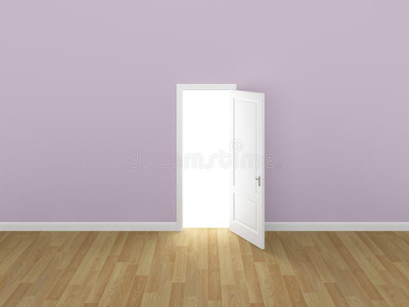 门开放在桃红色墙壁, 3d上 库存例证
