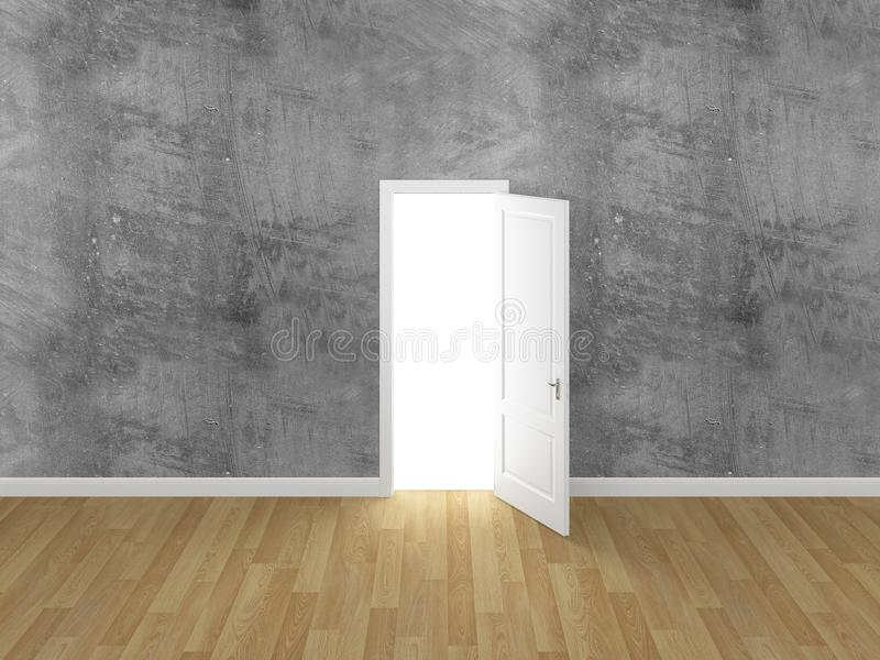 门开放在混凝土墙, 3d上 向量例证