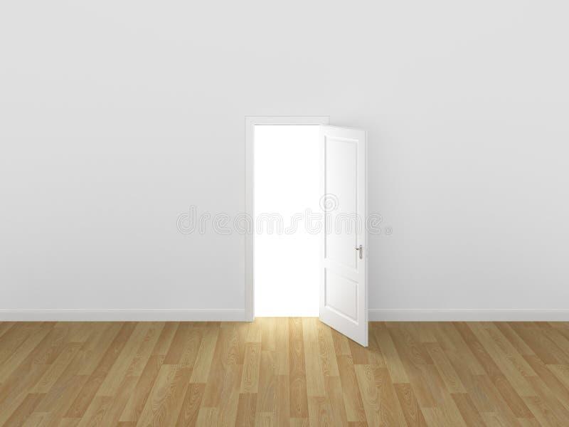 门开放在白色墙壁, 3d上 库存例证