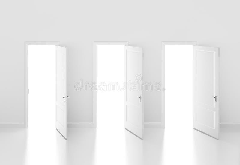 门开放在白色墙壁, 3d上 向量例证