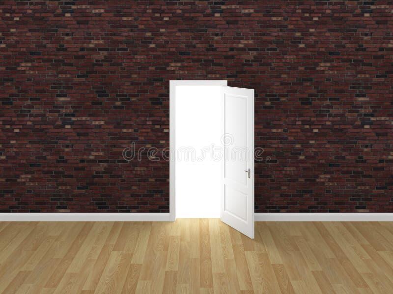 门开放在砖墙, 3d上 皇族释放例证