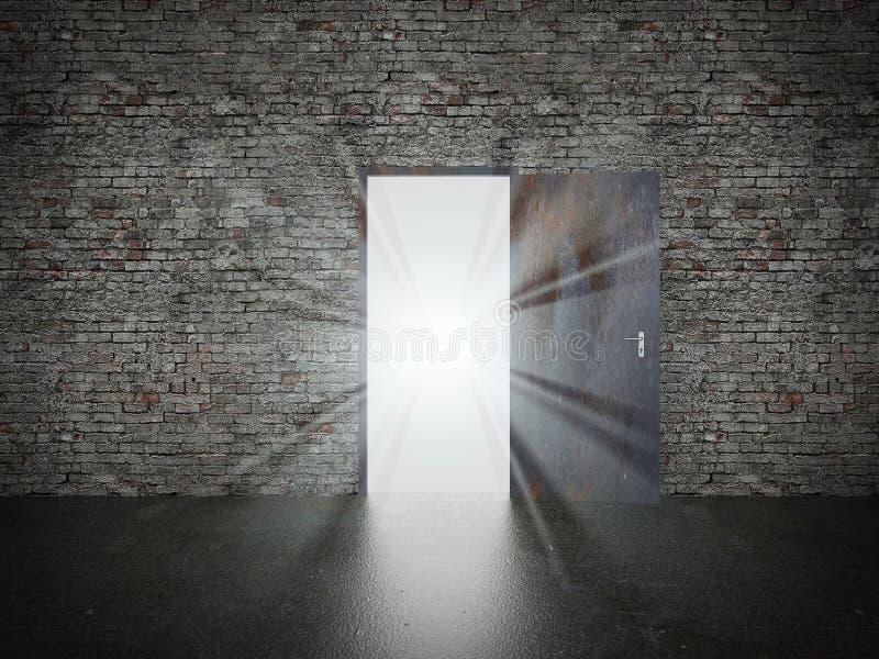 门开放在砖墙, 3d上 库存例证