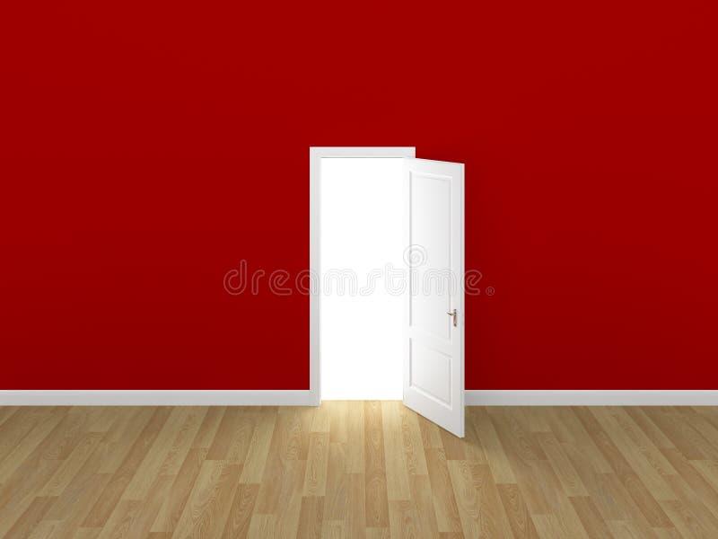 门开放在红色墙壁, 3d上 皇族释放例证