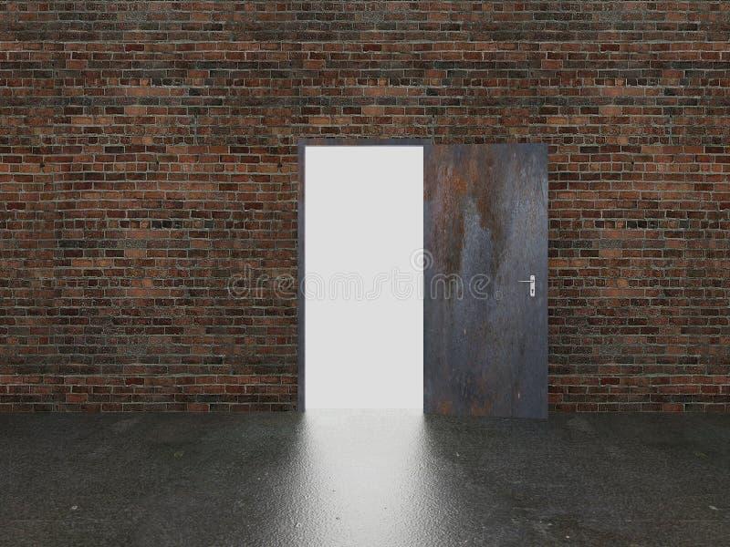 门开放在老砖墙, 3d上 皇族释放例证