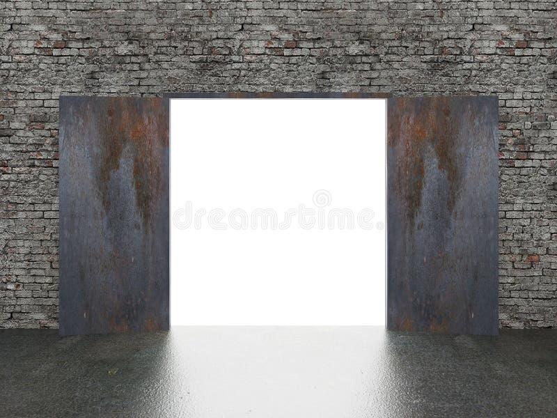 门开放在老砖墙, 3d上 库存例证