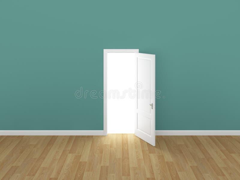 门开放在绿色墙壁, 3d上 向量例证