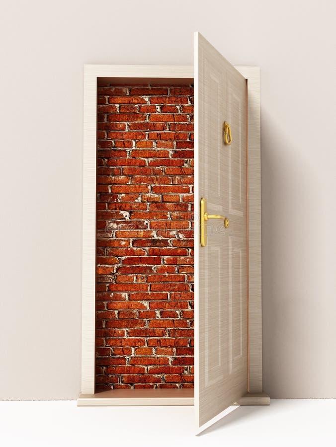 门户开放主义导致砖墙 3d例证 向量例证