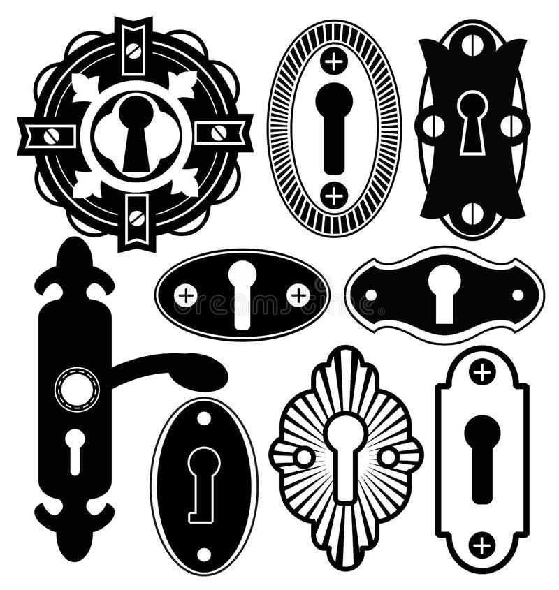 门把手瘤门闩钥匙匙孔 库存例证