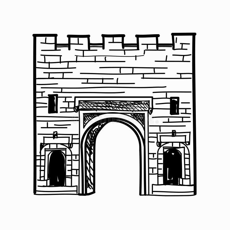 门方式曲拱门在堡垒围住门道入口 向量例证