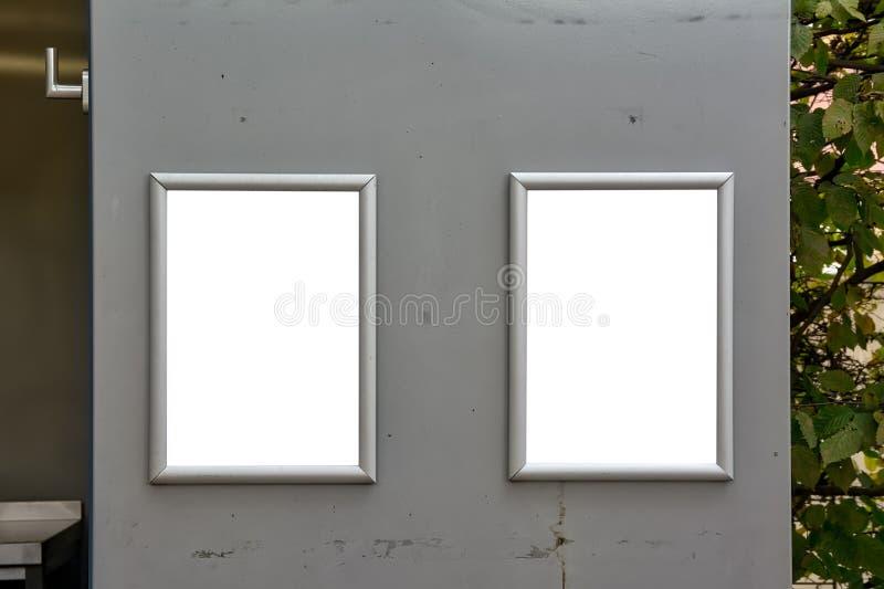 门标志餐馆摊开放空白的白色大模型Pri 免版税库存照片