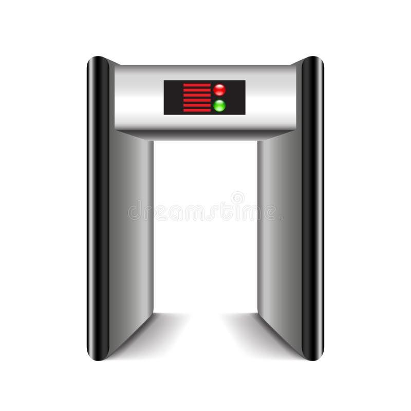 门框在白色传染媒介隔绝的金属探测器 库存例证