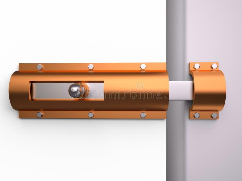门的金属门闩, 3D 皇族释放例证