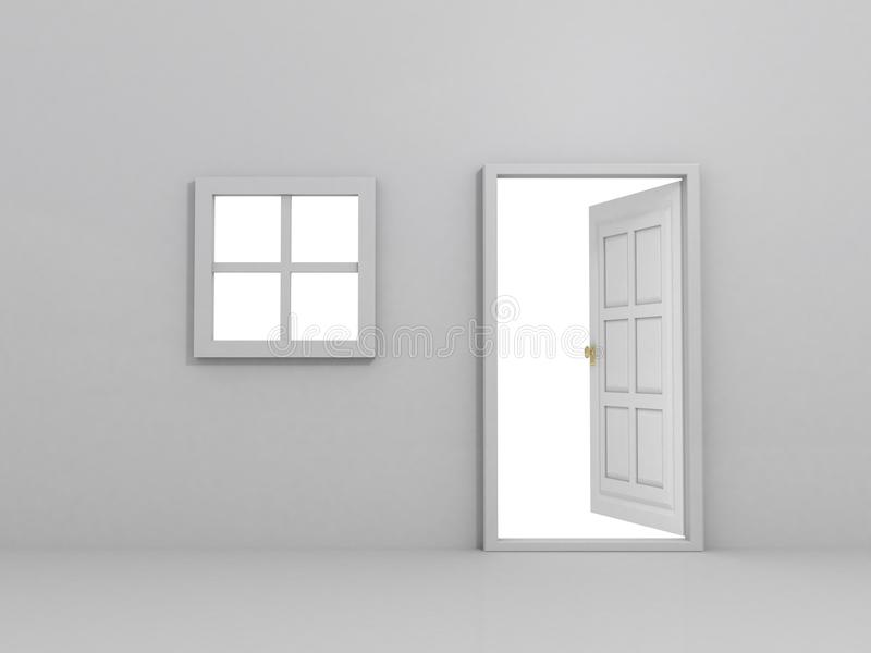 门被开张的墙壁视窗 库存例证