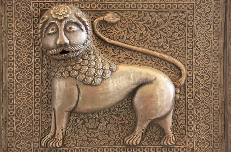 门装饰, Mehrangarh堡垒,乔德普尔城,印度细节  免版税库存照片