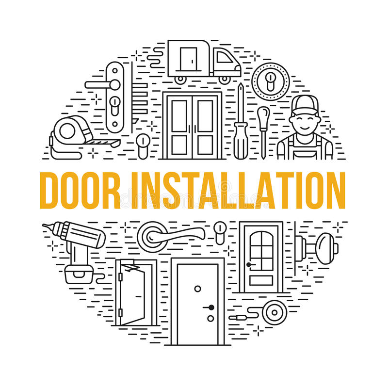 门设施,修理横幅例证 导航线各种各样的门类型,把柄,门闩,锁,铰链象  向量例证