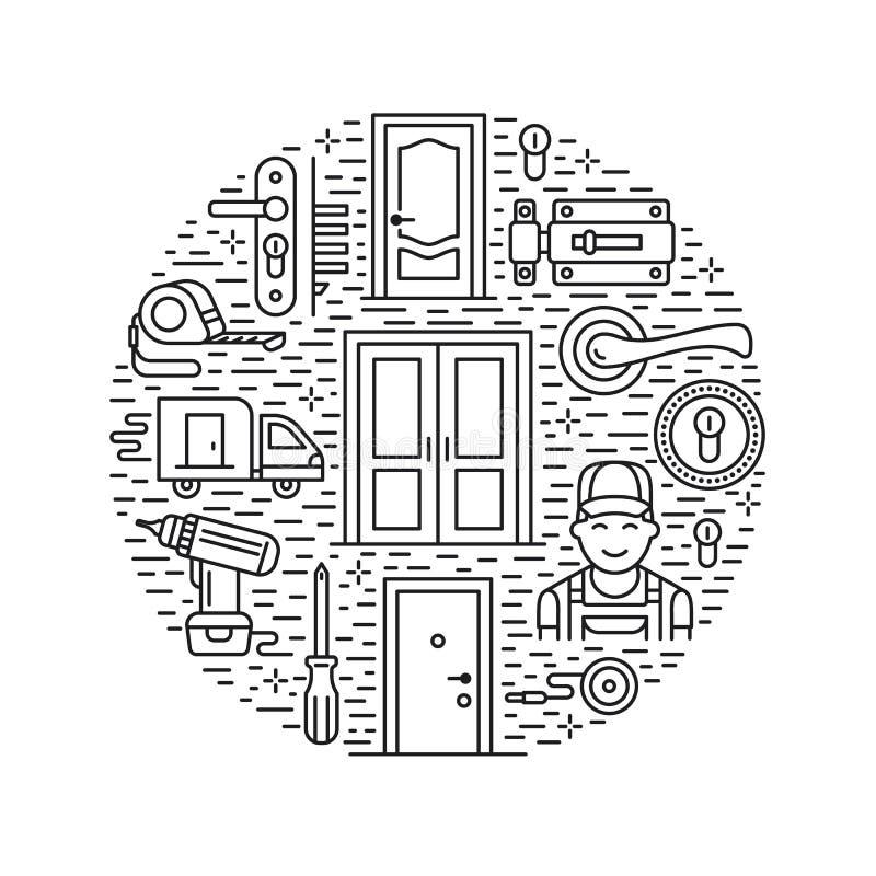 门设施,修理横幅例证 导航线各种各样的门类型,把柄,门闩,锁,铰链象  库存例证