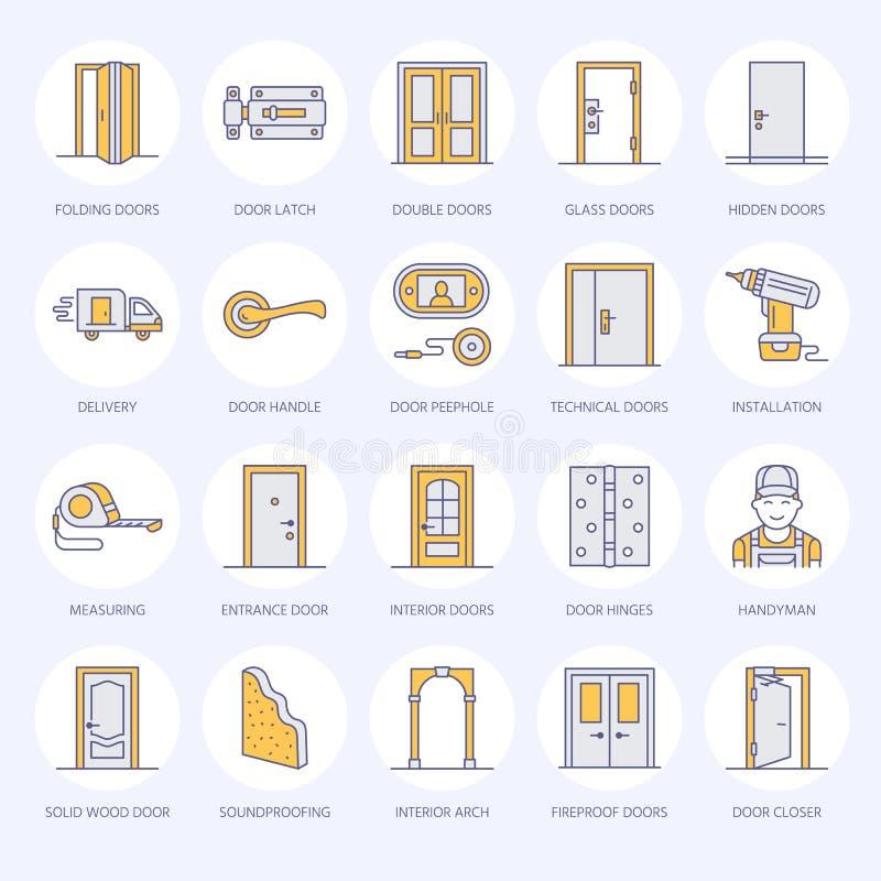 门设施,修理线象 各种各样的门类型,把柄,门闩,锁,铰链 室内设计变薄线性 库存例证