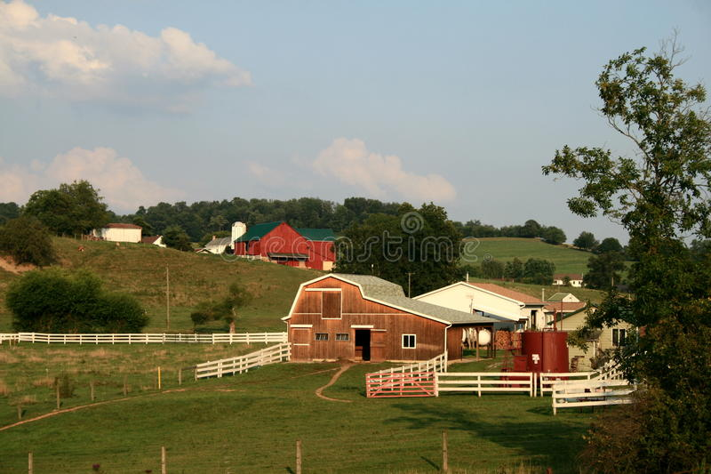 门诺派中的严紧派的农场 库存照片