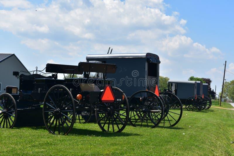 门诺派中的严紧派的推车和儿童车停放在农场 免版税图库摄影