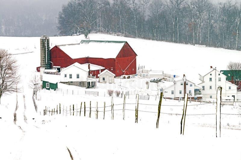 门诺派中的严紧派的谷仓和宅基在魅力附近的农村俄亥俄 库存照片
