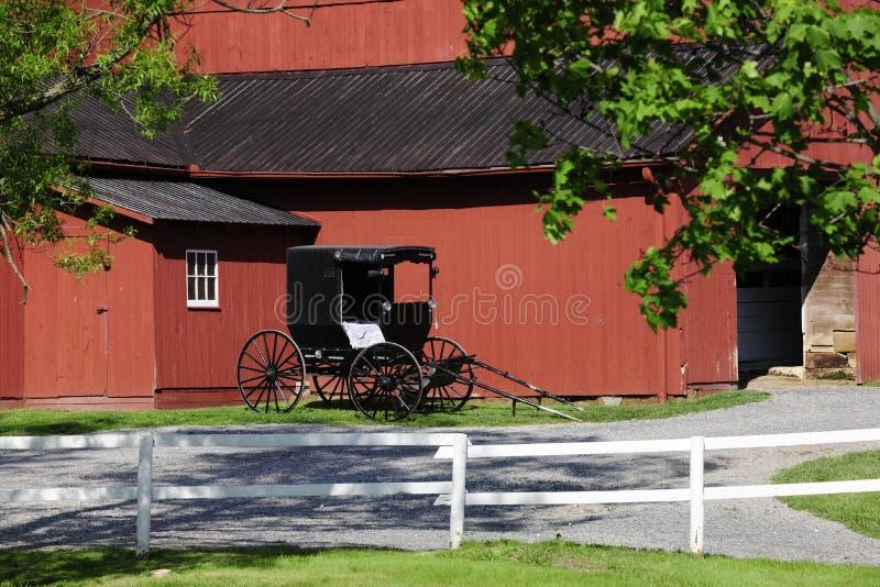 门诺派中的严紧派的谷仓和儿童车 免版税库存图片
