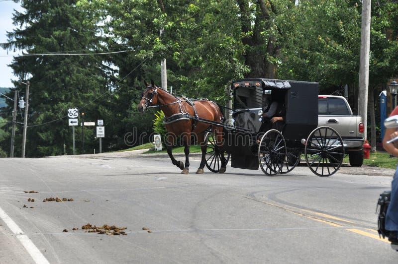 门诺派中的严紧派的运输,俄亥俄 库存图片