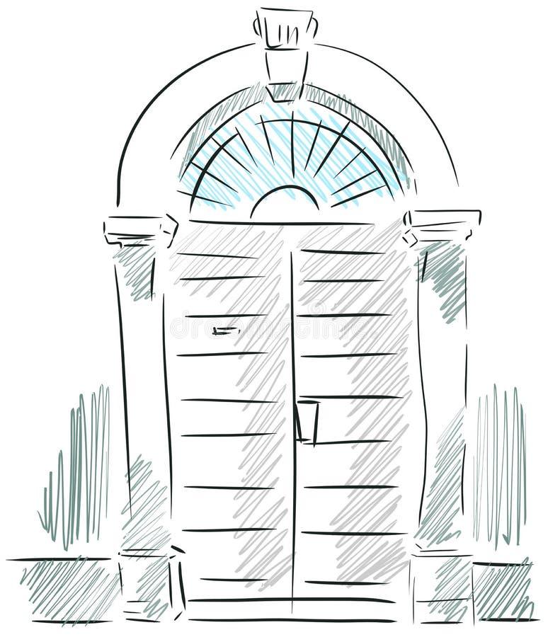 门道入口的被隔绝的剪影 向量例证