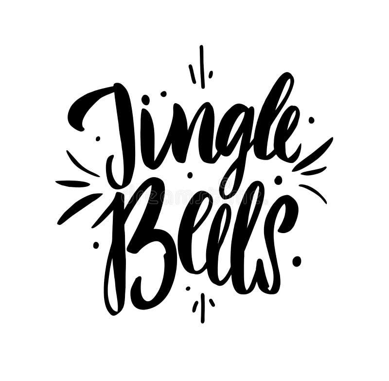 门铃递在假日上写字 圣诞快乐传染媒介字法 假日问候礼物海报的创造性的印刷术 向量例证