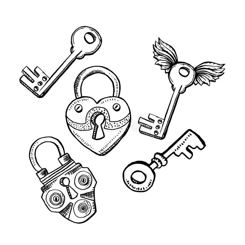 门锁或门闩和钥匙在剪影样式 概述或等高图画 手拉的传染媒介被隔绝的例证 向量例证