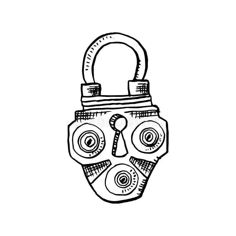 门锁或门闩在剪影样式 概述或等高图画 手拉的传染媒介被隔绝的例证 皇族释放例证