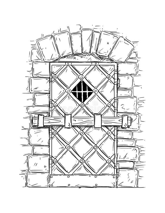 门闩关闭的木中世纪门动画片图画  向量例证