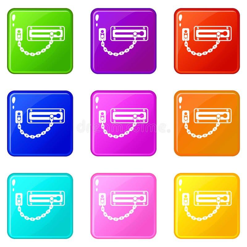门闩象设置了9种颜色汇集 皇族释放例证