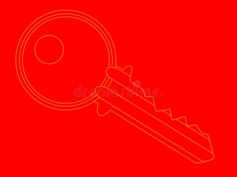 门闩钥匙红色背景 向量例证