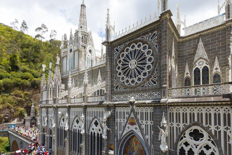 门面伊皮亚莱斯哥伦比亚的Las Lajas细节圣所  库存图片