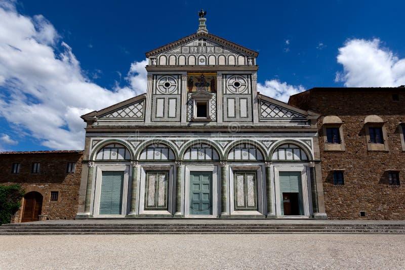 门面圣米尼亚托Al Monte,佛罗伦萨,佛罗伦萨, Toscany,意大利 库存图片