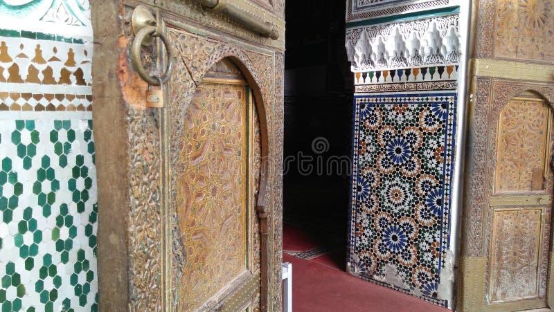 门, zellig,最佳建筑学摩洛哥传统的建筑学 免版税库存图片