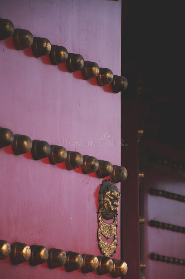 门 门在紫禁城 古老结构汉语 免版税库存图片