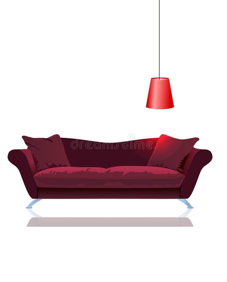 闪亮指示红色沙发向量 向量例证