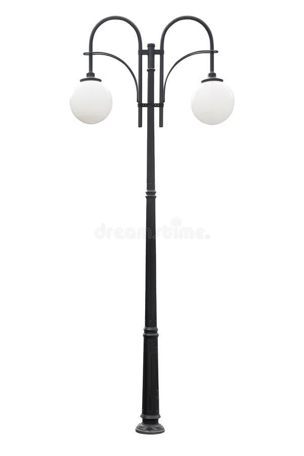 闪亮指示过帐街道路灯柱 在白色背景的路灯柱 免版税库存照片