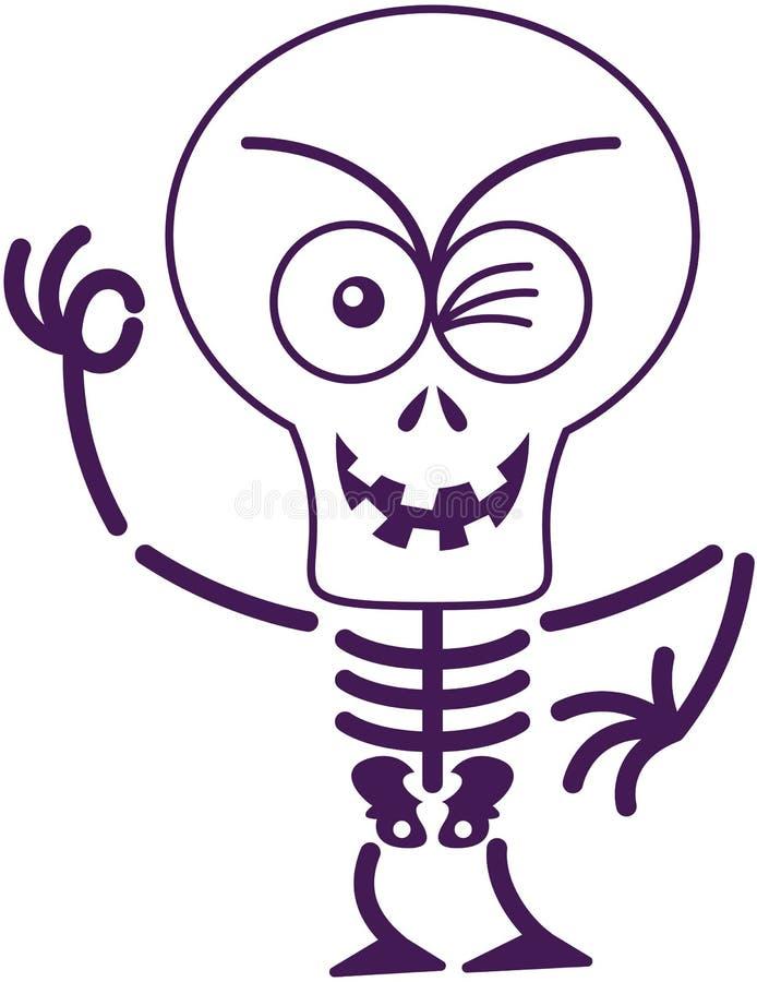 闪光和做一个好标志的可怕万圣夜骨骼 库存例证