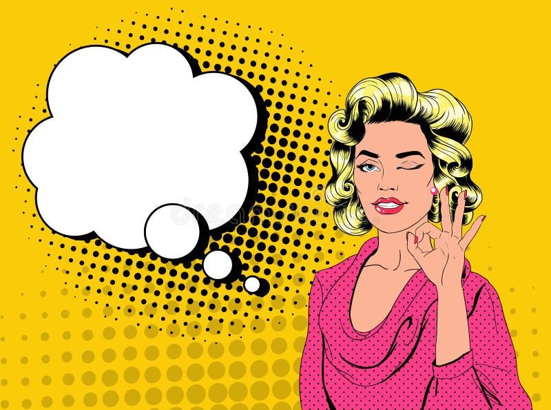 闪光和显示标志OK的流行艺术相当白肤金发的妇女 与可笑的讲话泡影的快乐的女孩葡萄酒海报 皇族释放例证