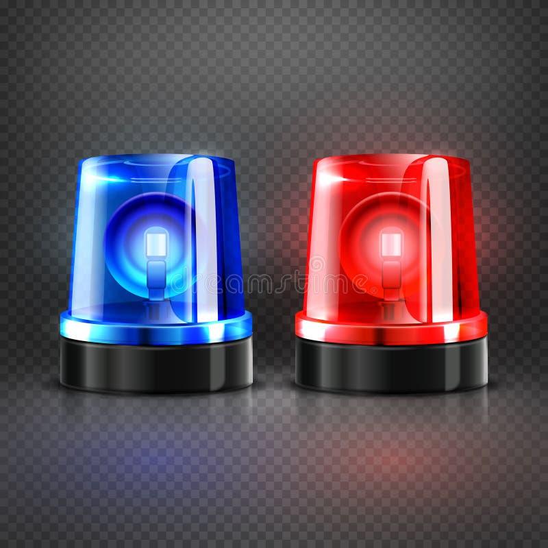 闪动现实警察的救护车红色和蓝色警报器隔绝了传染媒介例证 向量例证