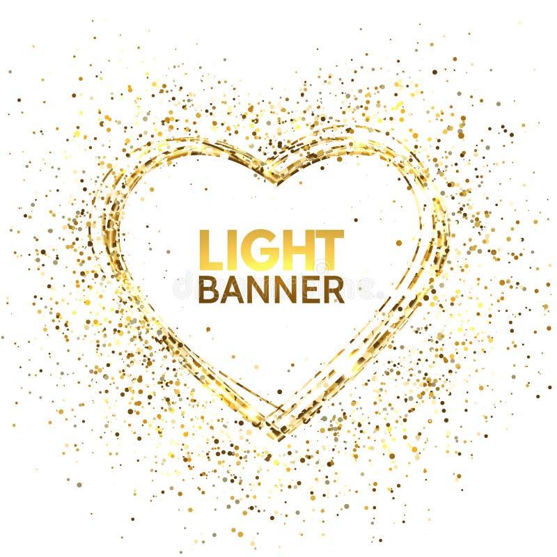 闪烁与空间的心脏框架文本的 金黄在白色背景隔绝的星团和闪闪发光 看板卡日愉快的华伦泰 库存例证