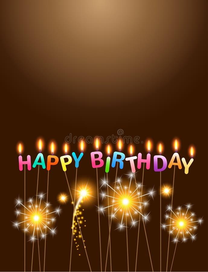 闪烁发光物与五颜六色的蜡烛生日快乐 皇族释放例证