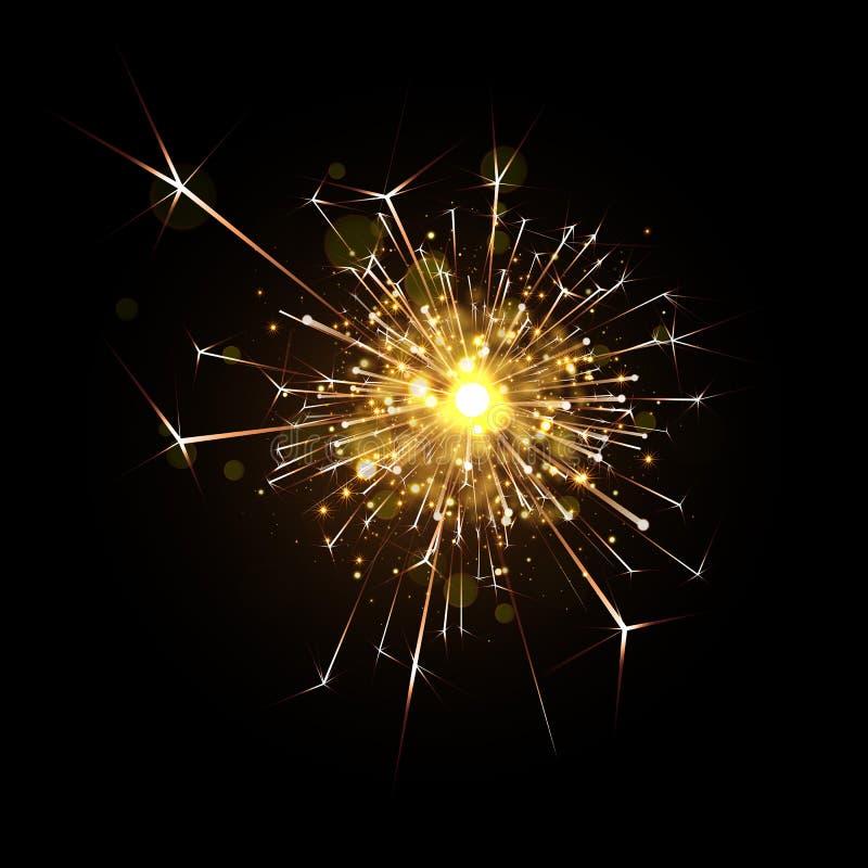 闪烁发光物传染媒介不可思议的烟花爆炸  向量例证