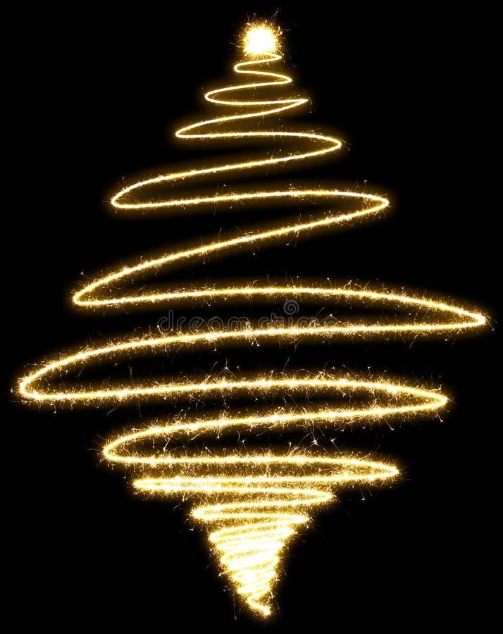 闪烁发光物做的圣诞树在黑背景 库存图片