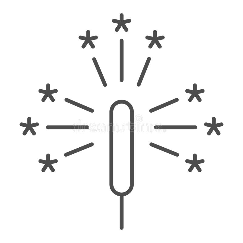 闪烁发光物稀薄的线象 爆竹在白色隔绝的传染媒介例证 烟花概述样式设计,设计为 库存例证